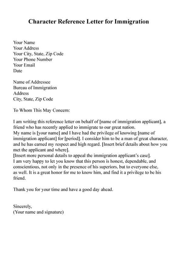 Character Reference Letter From Employer