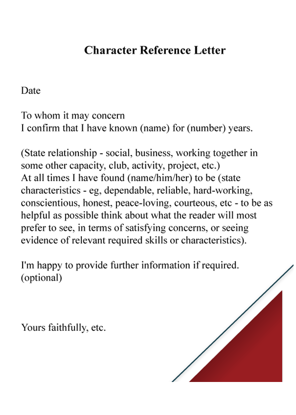 Sample Character Reference Letter with Example