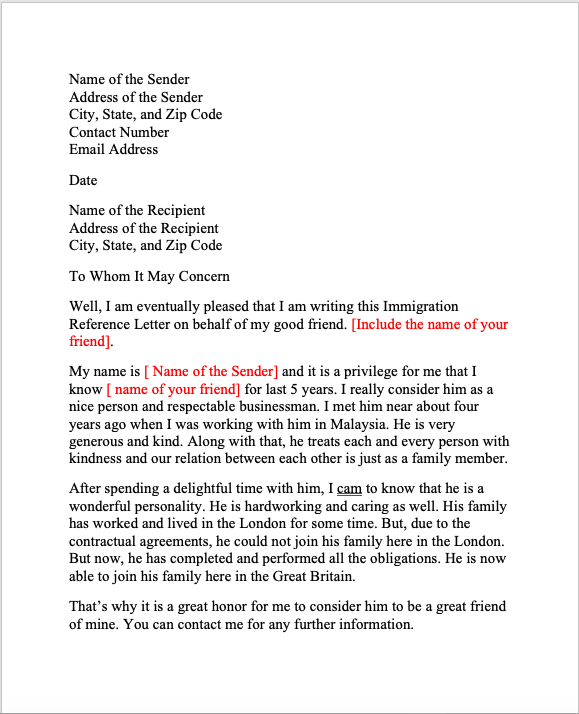 Character Reference Letter for Immigration