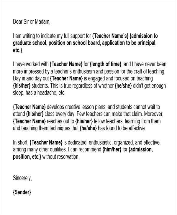 Character Reference Letter for Student from Coach/Teacher