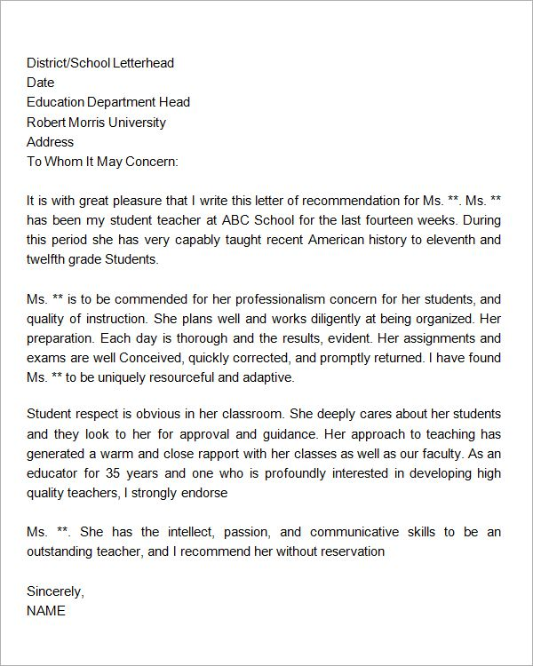 Character Reference Letter for Student in Trouble