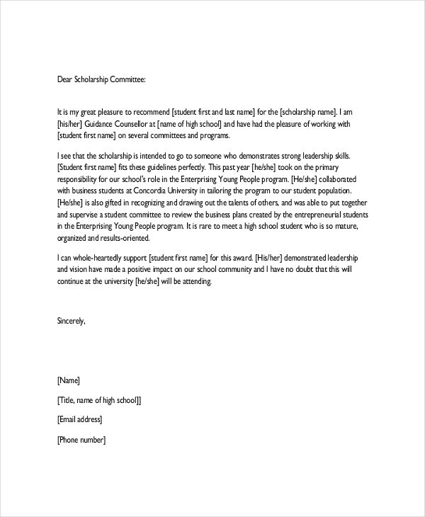 character reference letter for student scholarship